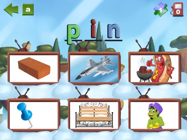 There are several different games that kids can play. One of them is to find the image that illustrates the word in question.