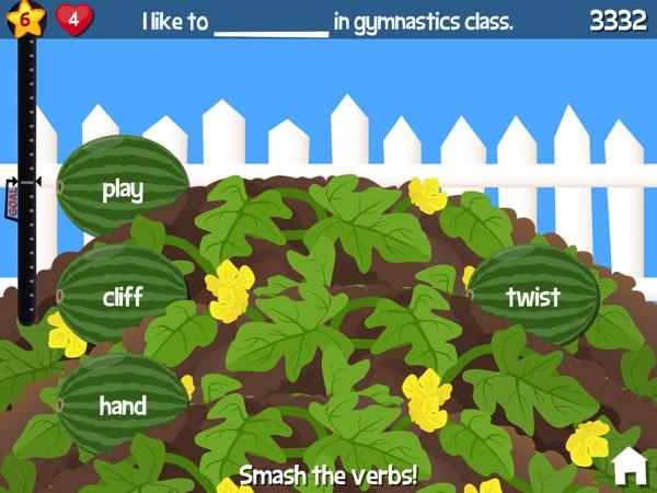 In Smashing Grammar, kids play arcade-style games that test their grammar skills and reading fluency