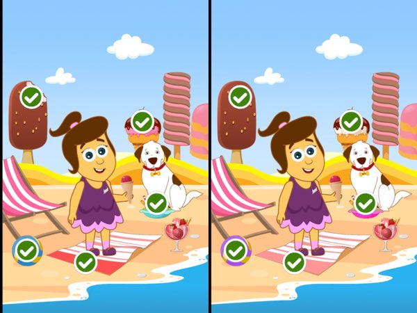 My favorite game is the classic spot-the-differences. The app generates a different pair of images each time, and offers great replay value.