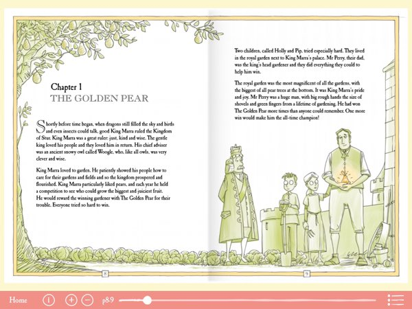 The layout for The Foolish King is adapted from the hardcover book version.
