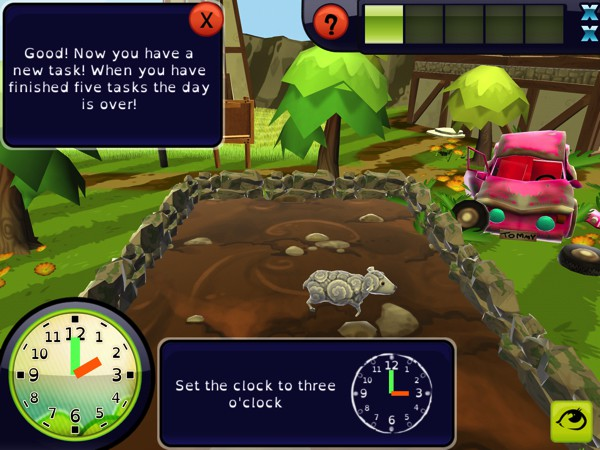 In Zcooly Time Ranch, kids set the clock to feed the animals at the right times