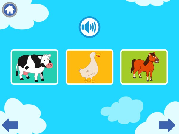 The app also includes simple, flashcard-style quizzes in which kids guess which animal makes the sound they hear