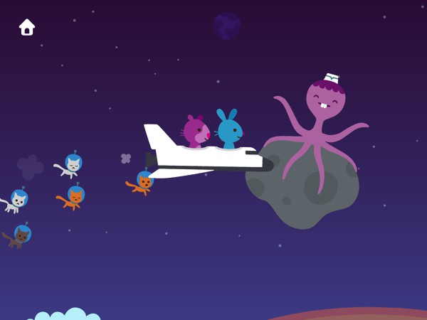 Kids can also fly up into outer space