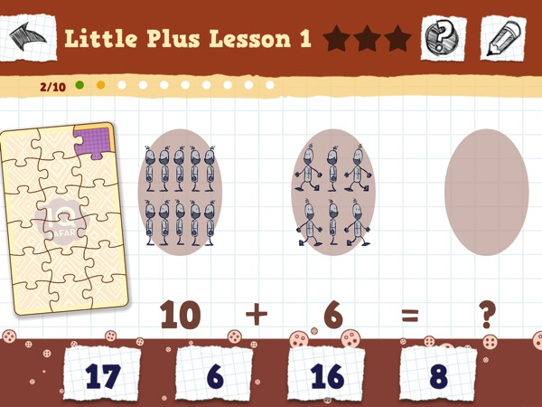 The app has nine chapters of exercises that increase in difficulty. Kids start with simple addition facts andwork their way to long division problems.