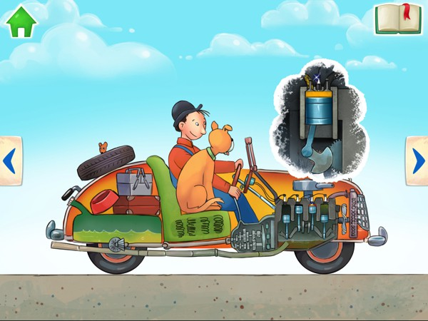 Kids can discover how cars work in the interactive storybook Mulle Meck Builds a Car