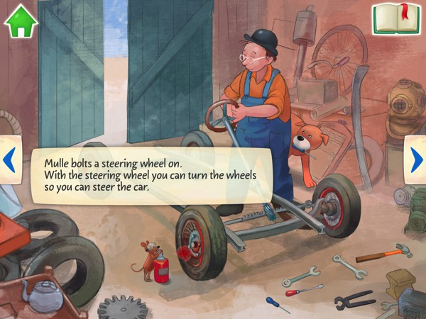 The story explains the details of each component in a car, from the wheels to the engine under the hood