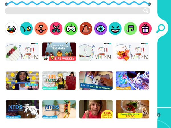 The app has videos across various categories, including DIY crafts and Toca Boca-produced animated shorts
