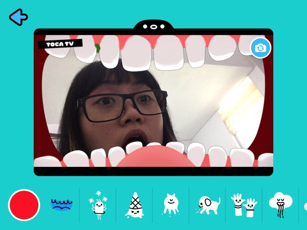 Kids can use the record tool and silly animated filters to film their own videos