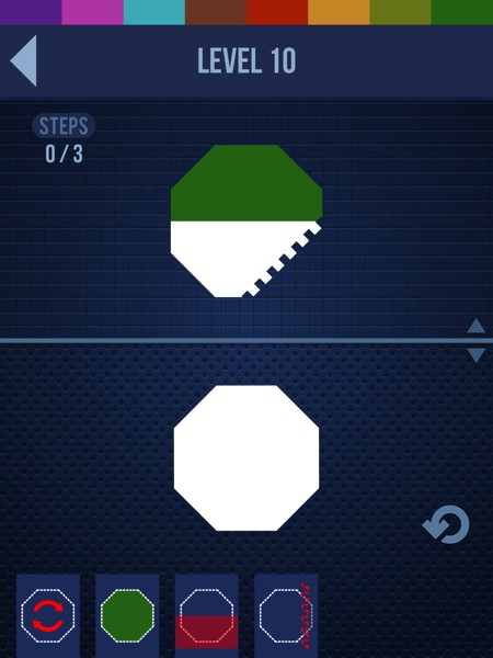 In SEMBL, you try to recreate the design on the screen with as few moves as possible