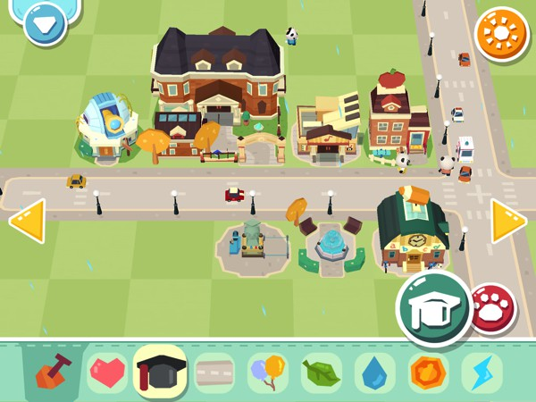 Create education-themed buildings with the Cap material