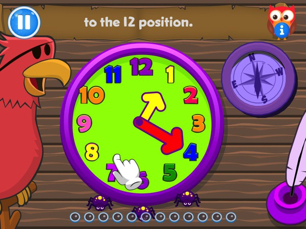 The app covers several key curriculum points, including telling time