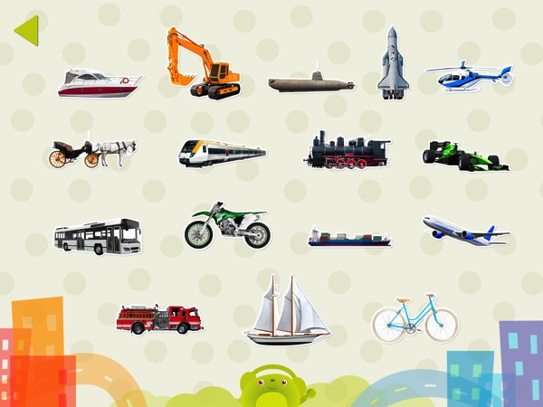Choose from 6 categories of sounds, including animals and vehicles
