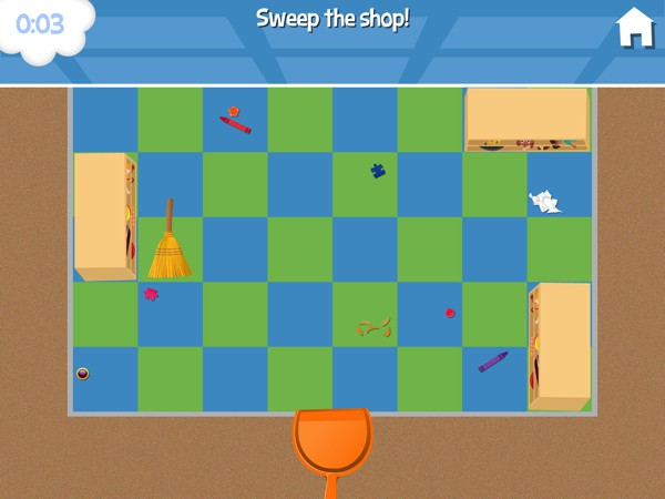 In this fun mini game, you slide the broom across horizontally or vertically to clean up the shop floor