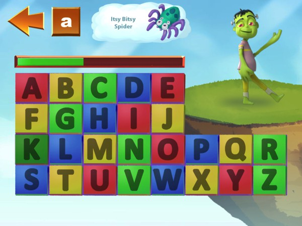 Explore letter sounds with the app's unique letter keyboard