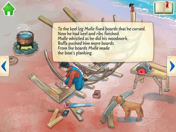 As kids follow Mulle in his endeavor, they also learn how boats are built