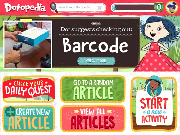 Kids can explore articles or create their own in the interactive app Dotopedia