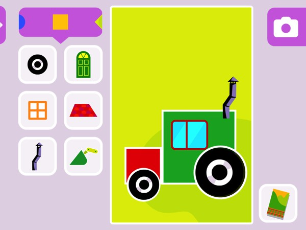 Kids can use stickers and backgrounds to create their own pictures