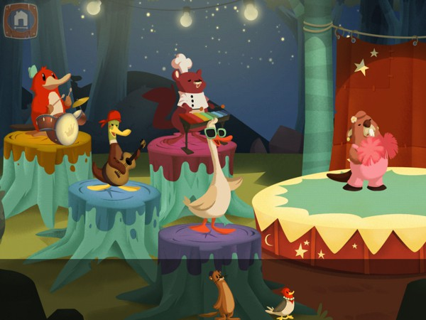 The app also includes three mini games, such as this musical game where you drag and drop the animals on stage to play music
