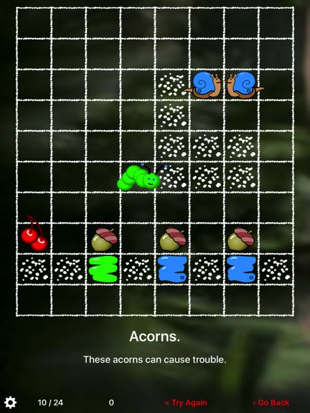 Inch Worm offers challenging maze puzzles for all ages