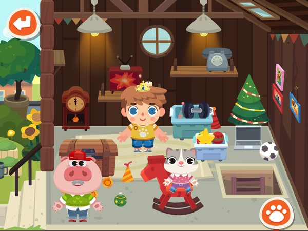 Kids can create their own stories about the characters and items that they find in each location
