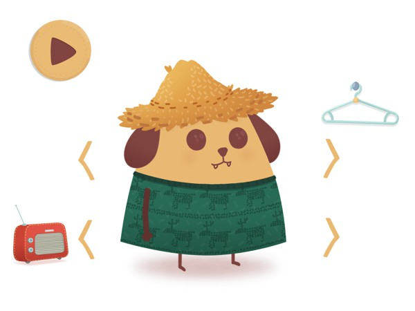 Kids collect costumes as they play and use them to dress up DogBiscuit, the app's mascot