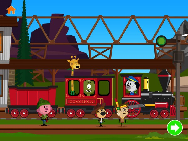Take a ride through the Far West in this vibrant train app for kids