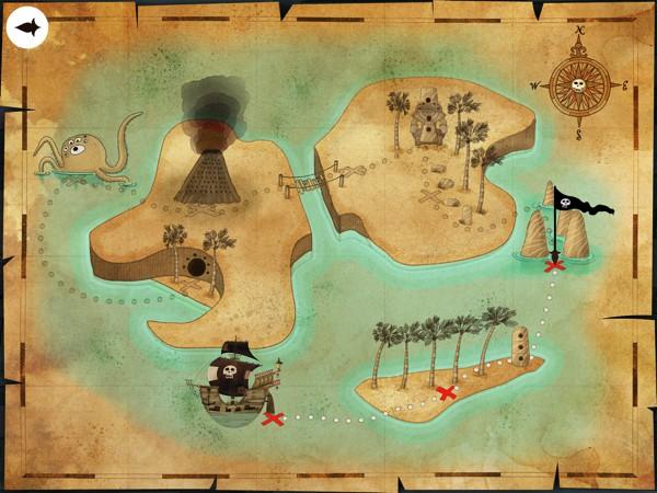 Follow the treasure map through eight unique locations