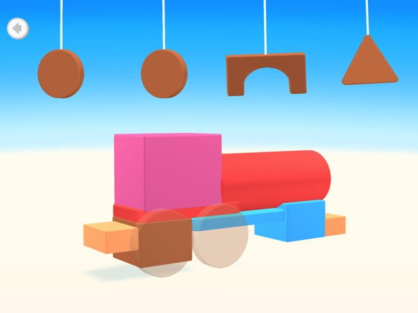 Kids can choose from four game modes, including one in which they recreate real-world objects with simple shapes