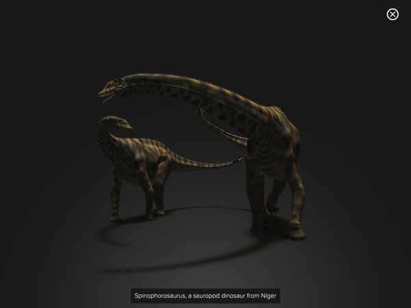 Kids can view a 360-degree model of each dinosaur