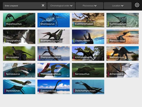 Use the search feature to filter dinosaurs by criteria such as diet and location