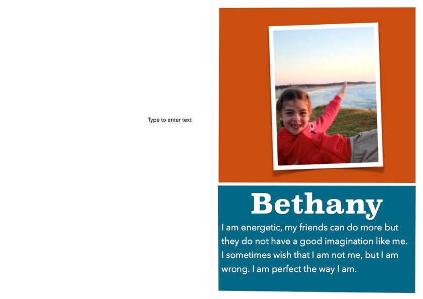 Bethany's card for herself - inspired by our workshops!