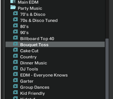 Example of my playlists in Traktor
