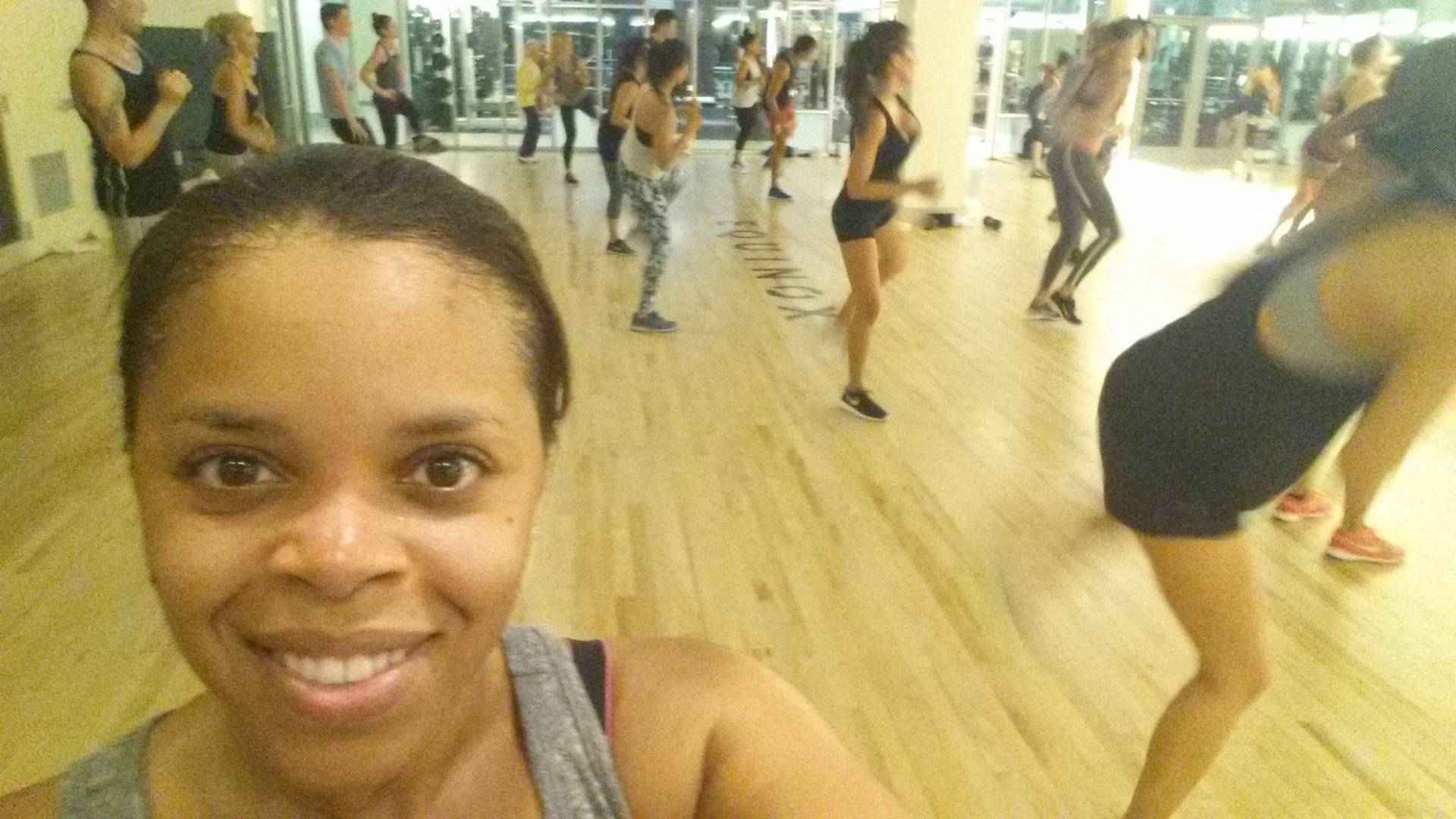 Kickboxing class. See that smile? Forced