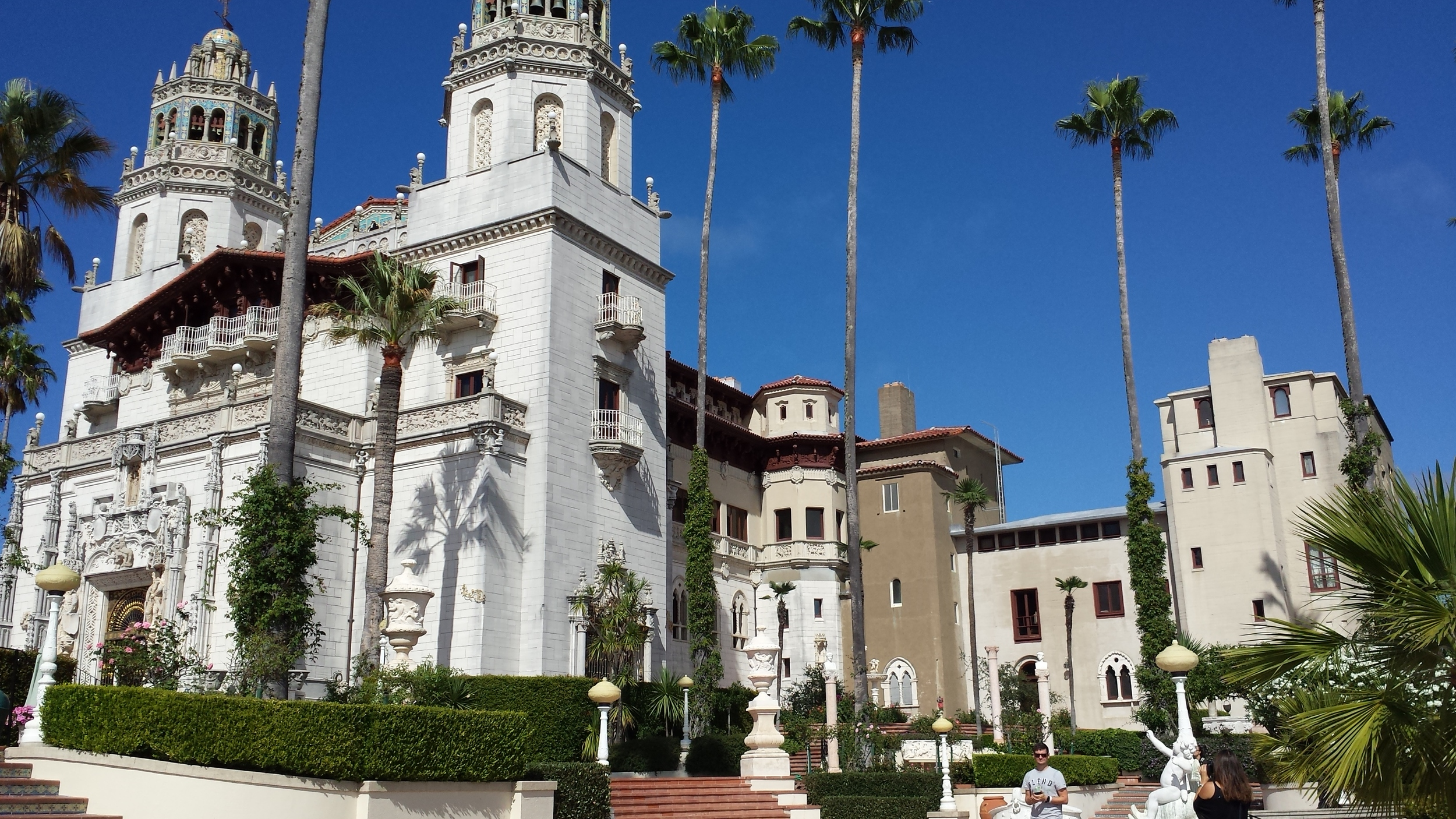 William Hearst's Castle high up on a hill