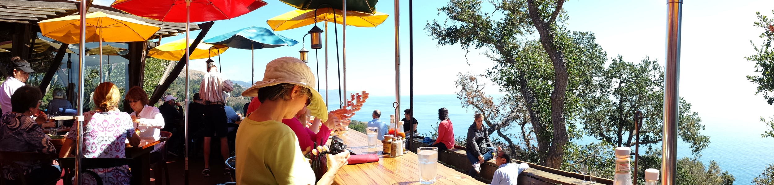 Back deck of Nepenthe Restaurant that overlooks the ocean where I spotted a whale