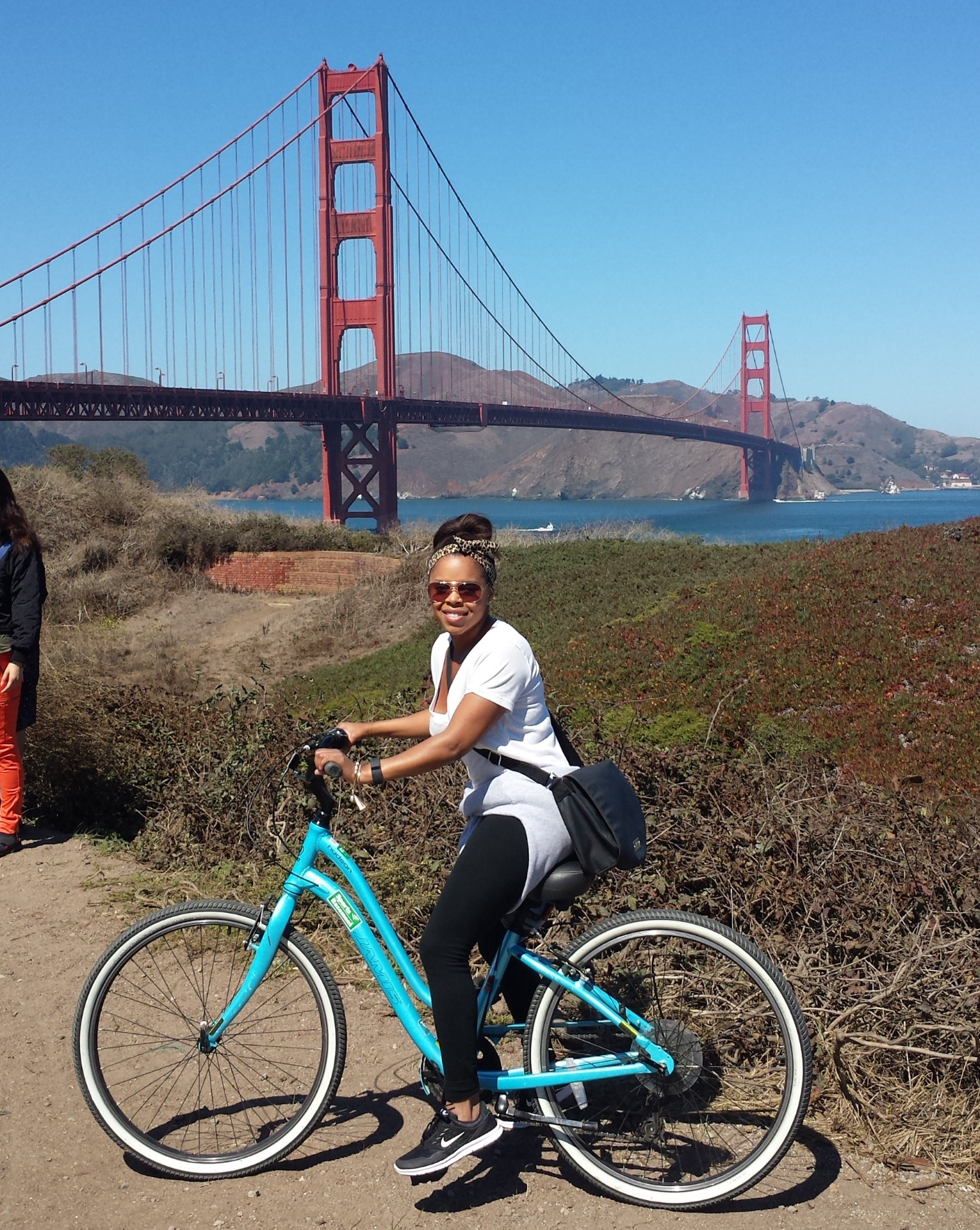 Rode across   the Golden Gate B  ridge . An unplanned 4 hours of walking and bike riding. Over 25,000 steps on my Fitbit that day