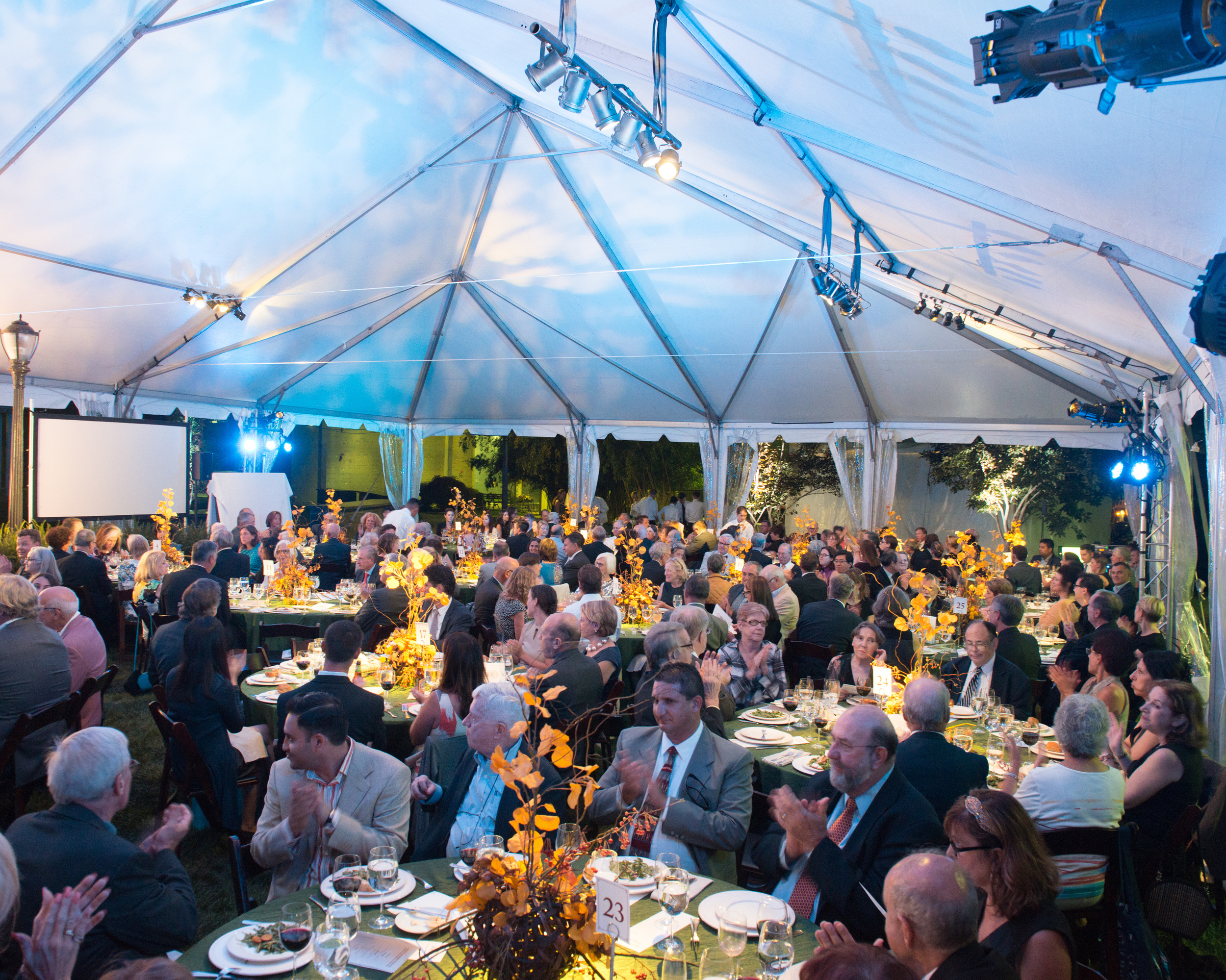 Tented fundraiser with pinspots