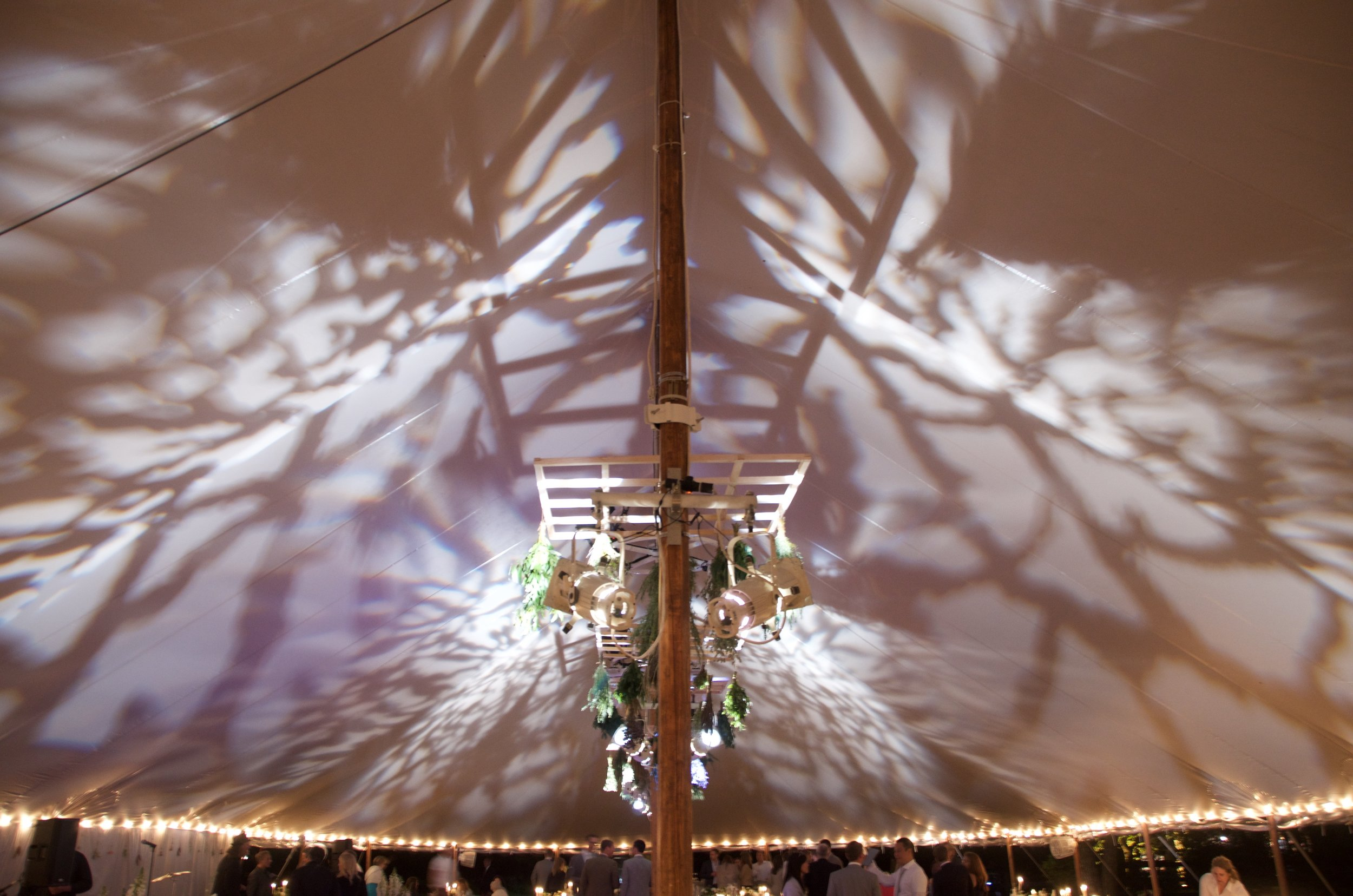 Patterned gobos on a tent ceiling
