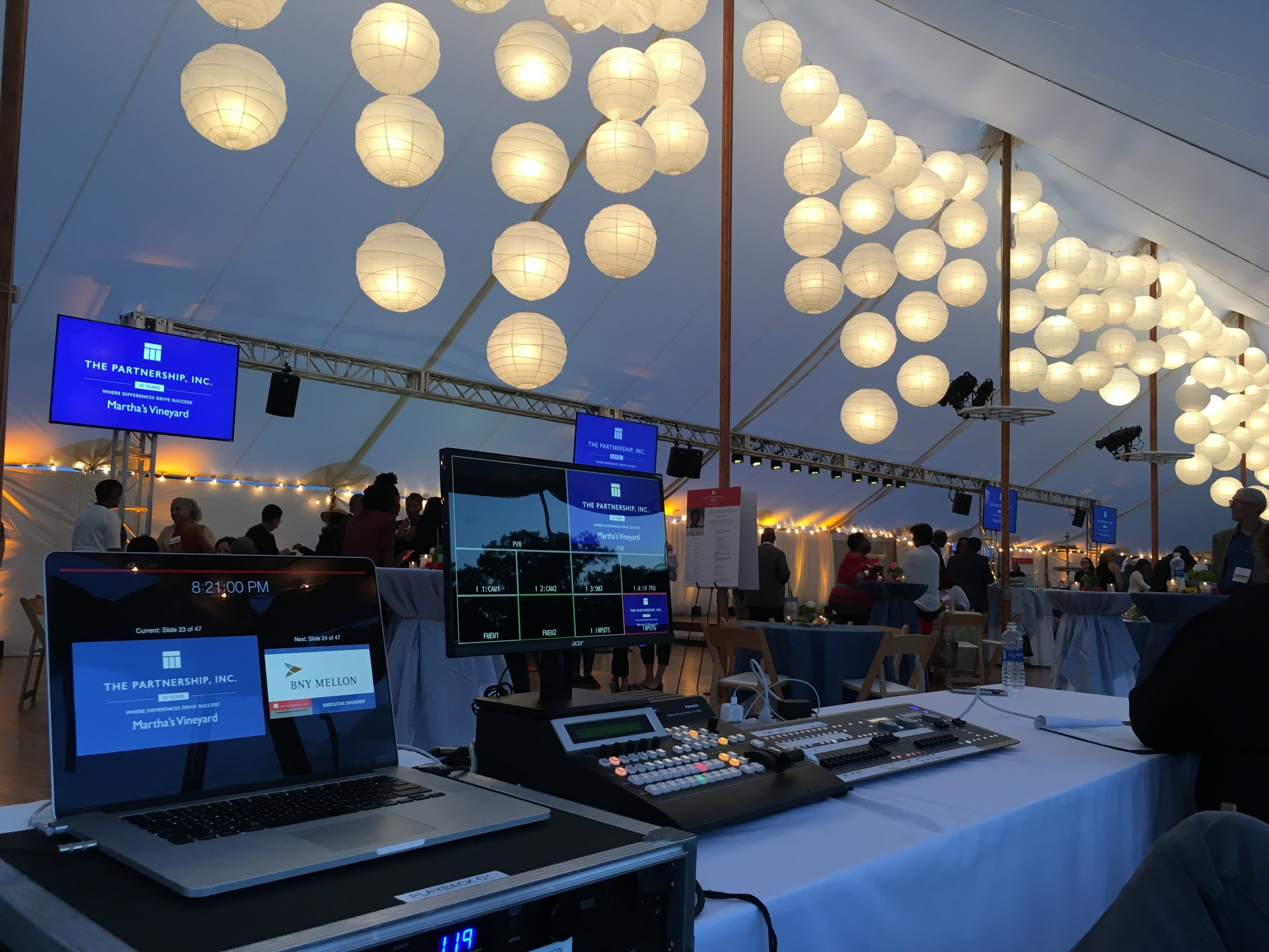 Video screens, audio and lighting supported by a truss structure for a diversity summit