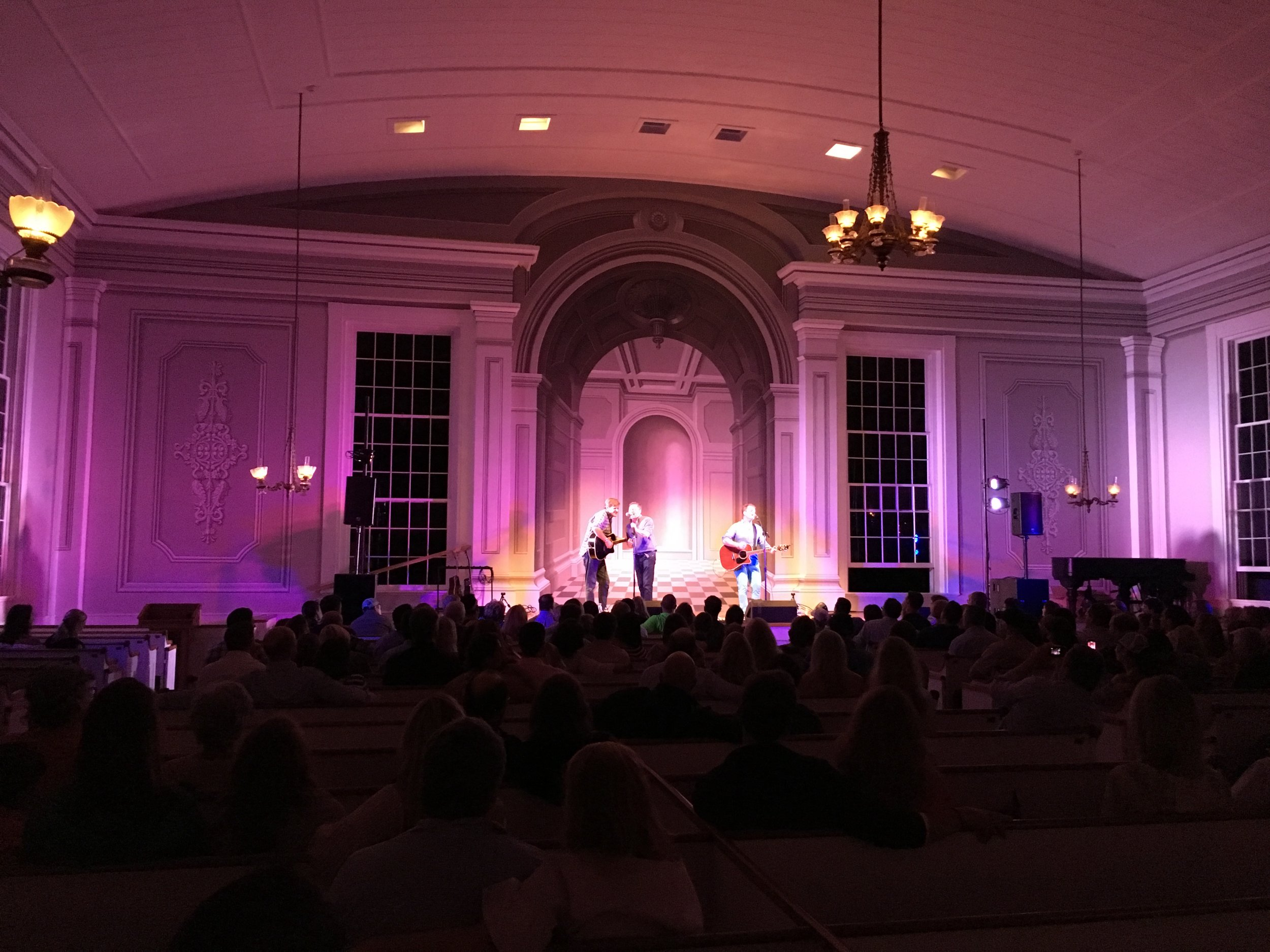 Audio and lighting for a concert in a historic church