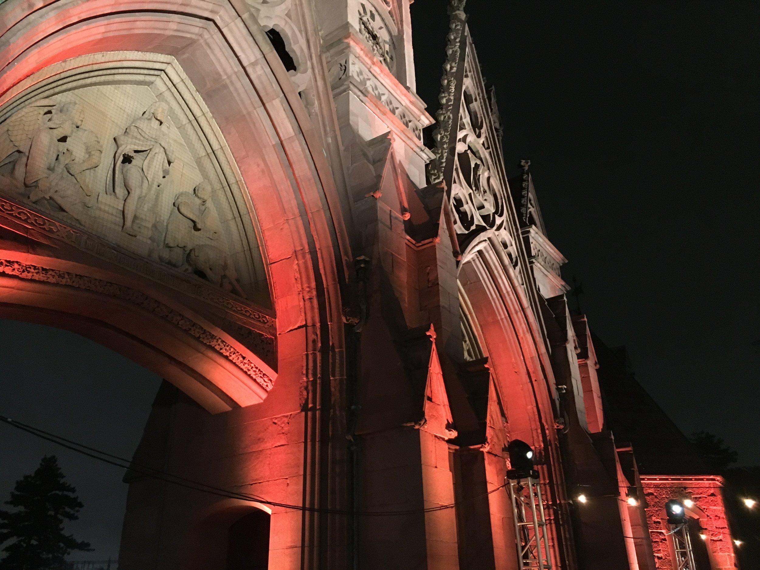 Uplighting on stone archways