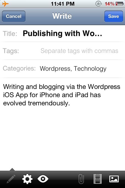 Wordpress for iOS iPhone and iPad Screenshot