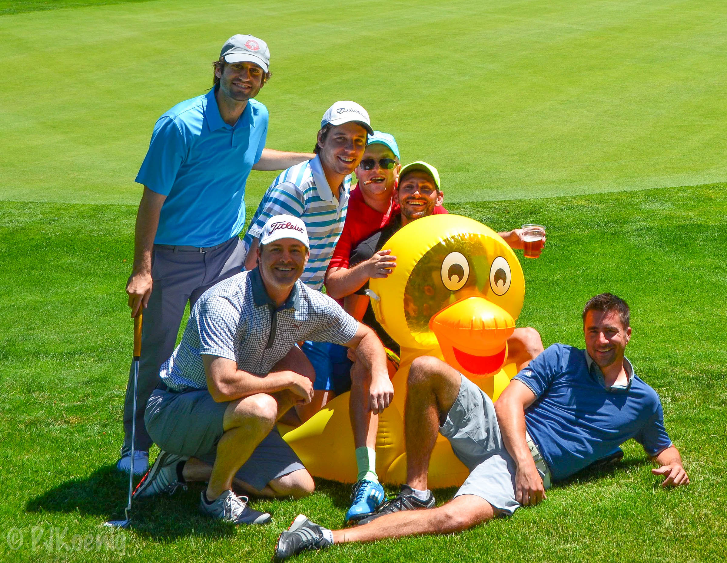 From left to right: Joey the Cat, Kris Buerkle, Ryan Pearce, John Kennelly, Joe Garvey, Danny the Duck, Patrick Koenig.