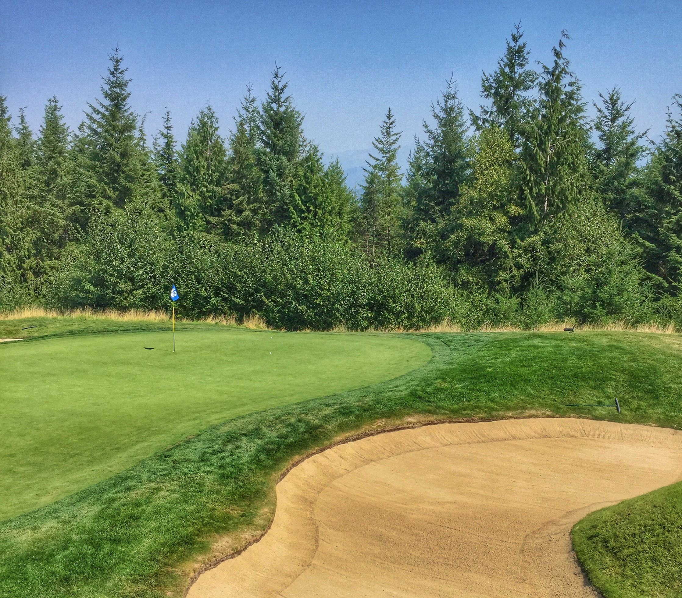 The flag on the 12th hole is in Seahawks fashion as an ode to the 12th man! Cool.