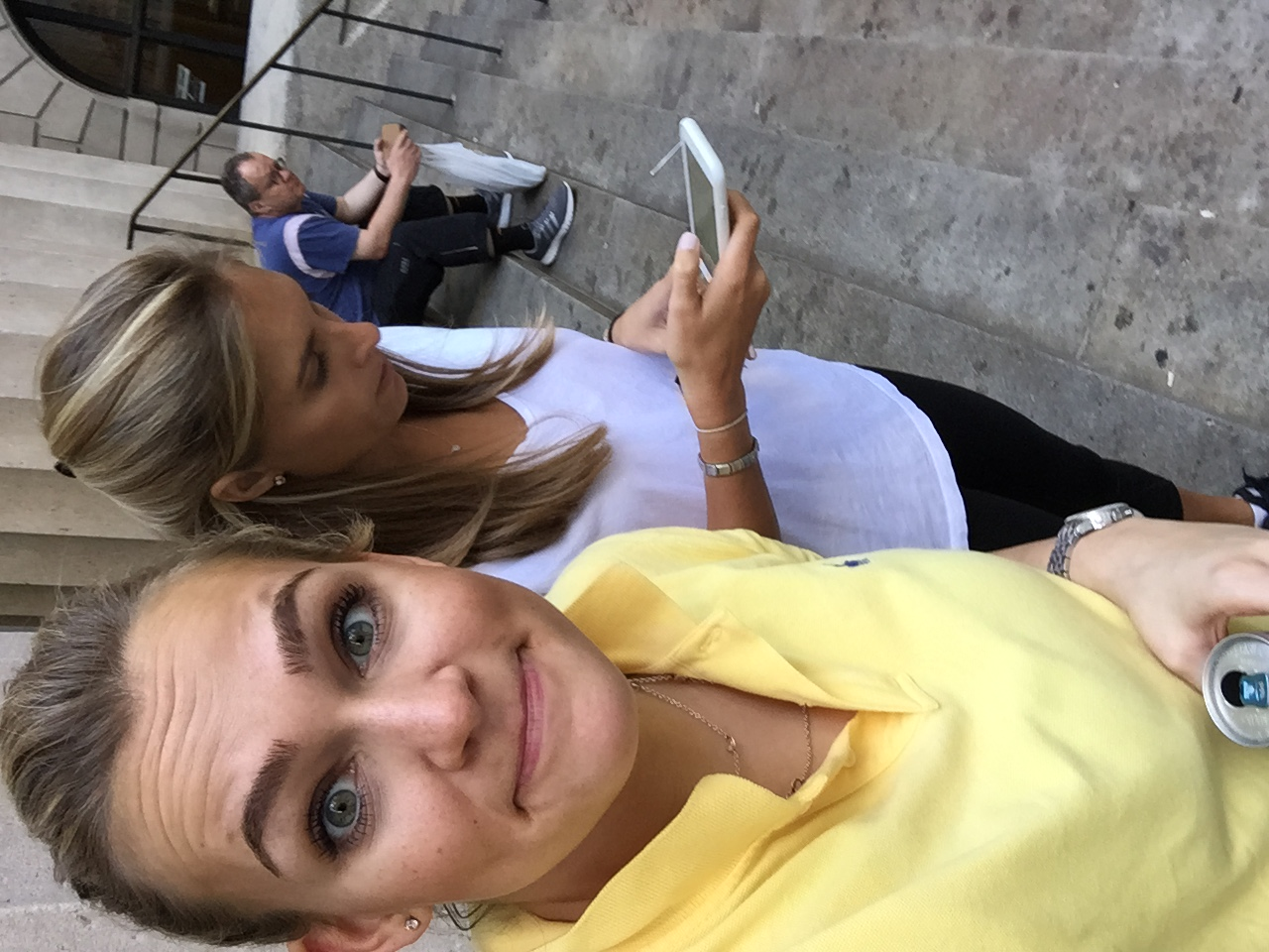 Aspiring selfie model, Meredith Bragg, captures valuable behind the scenes documentation.  Erin Keleher keeps up critical client relations.  Man on the street ponders the FCOJ market/life.