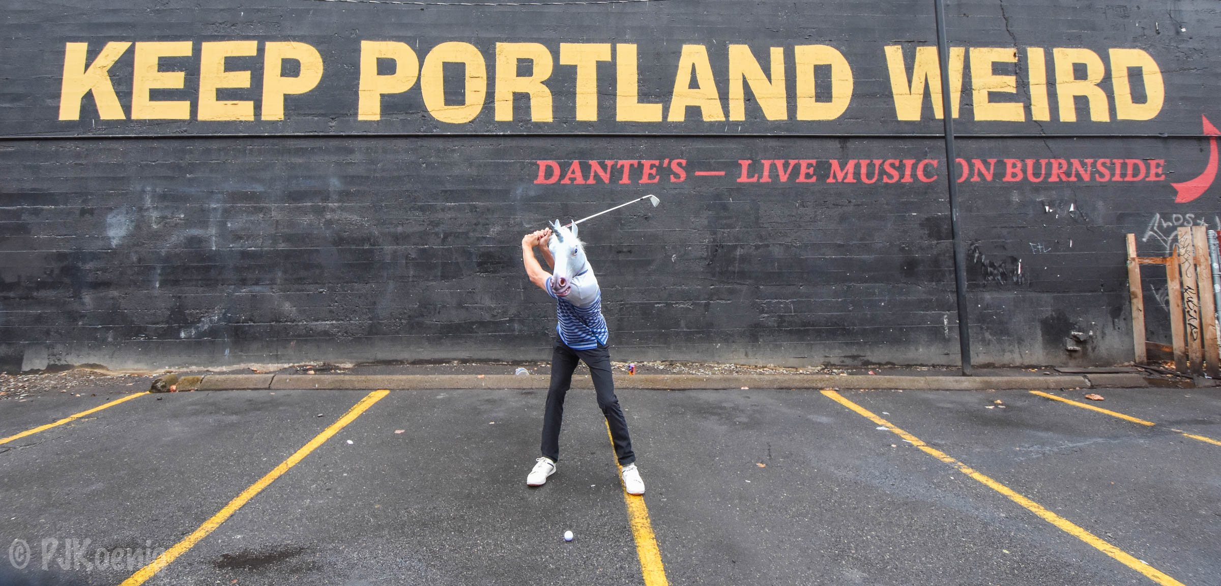 First things first:  Golf Unicorn played the short parking lot par 3 at Dante's.