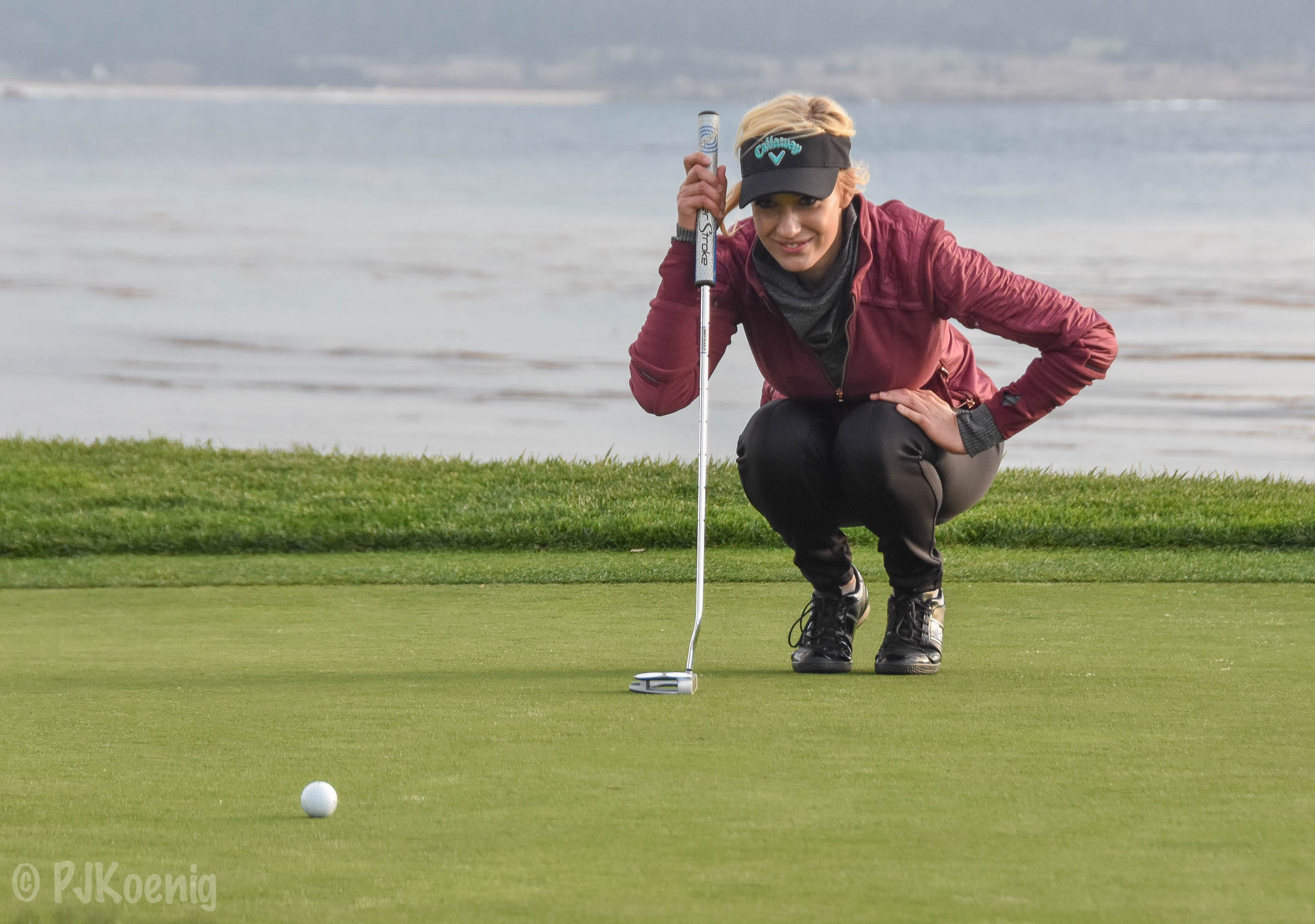 Reading putts at Pebble Beach is fun.