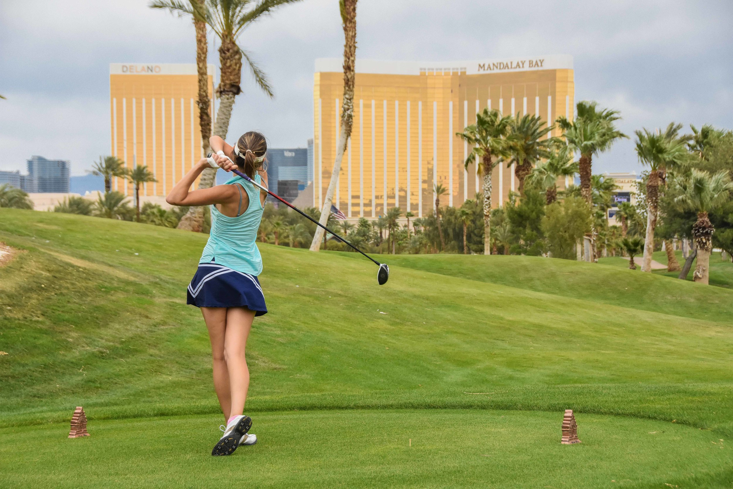 Even though Sarah Moodie  (Smooderoo)  weighs about 85 pounds, she actually drove this one over the Mandalay Bay Resort and Casino.