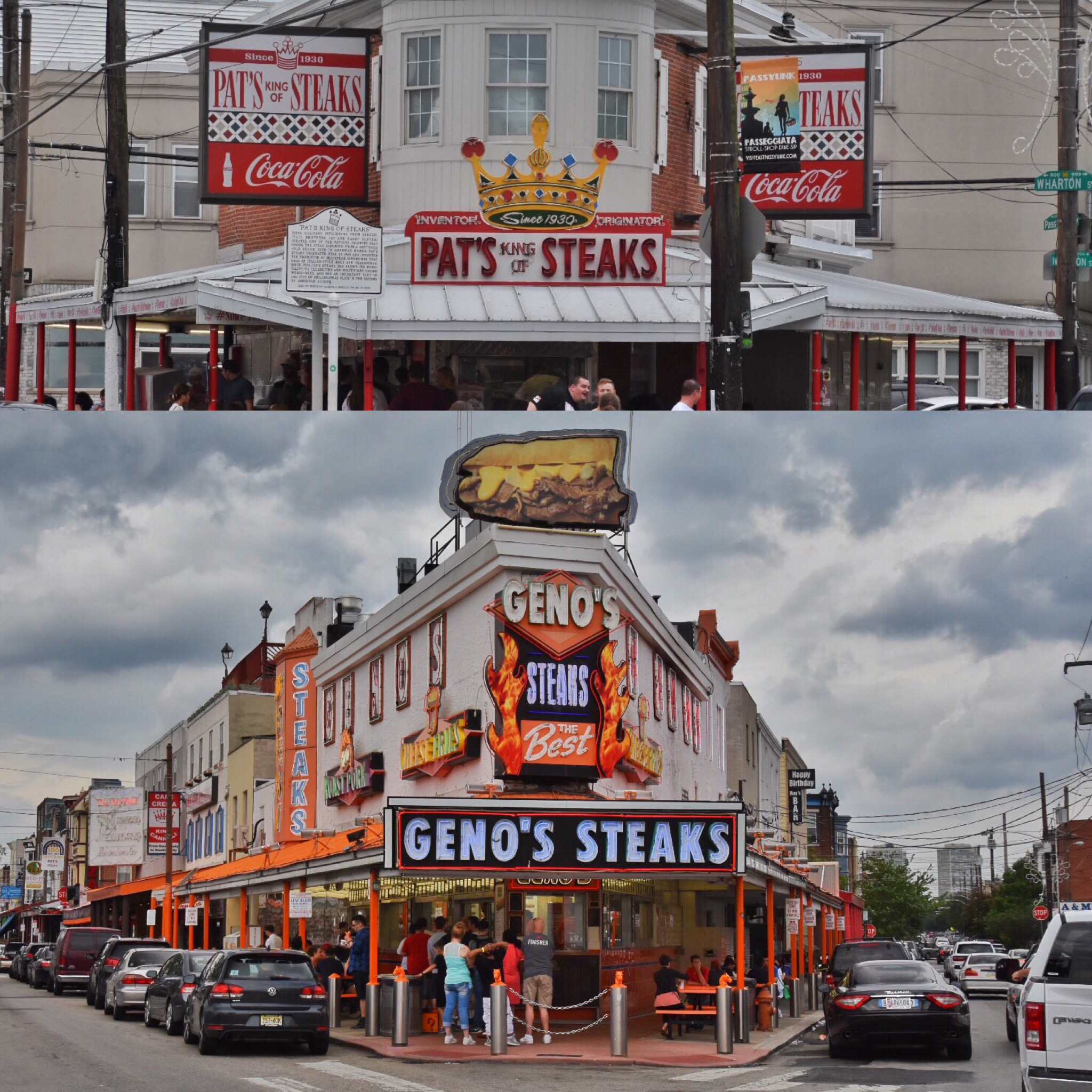 The dueling steakhouses of Geno's and Pat's.  Serious decisions must be made.
