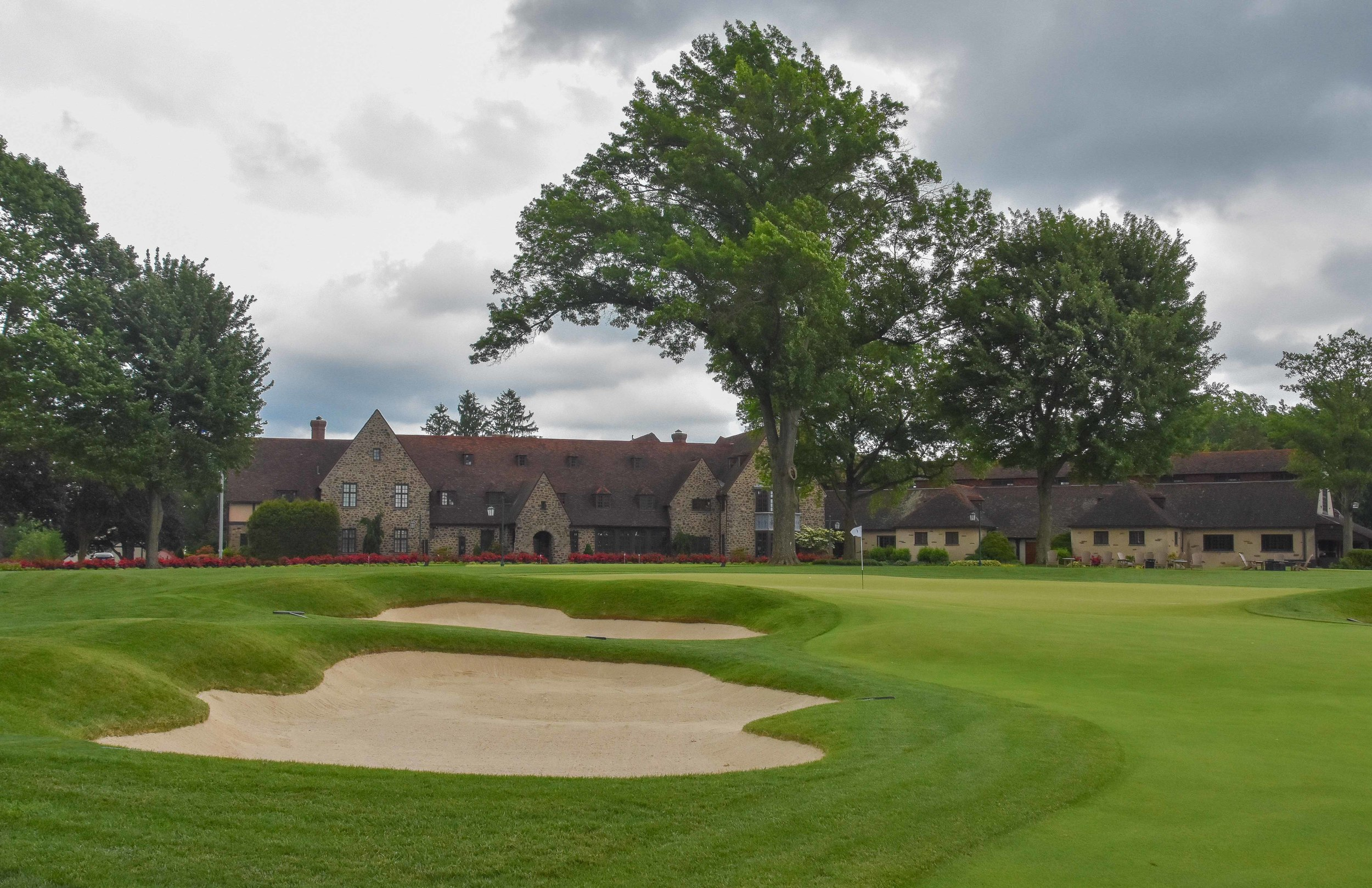 The 18th hole at  Aronimink  was the 99th hole of the trip. Looks like we will have to come back to make it an even 100.